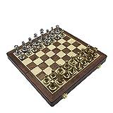 HHOSBFSS Edles Und Sammelbare Hölzerne Zusammenklappbare Schachbrett Vintage Metalllegierung Schachstücke Brettspiel Set Für Geschenkgeben Und Unterhaltung