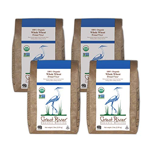 Great River Organic Milling, Bread Flour, Whole Wheat, Stone Ground, Organic, 2-Pounds (Pack of 4)
