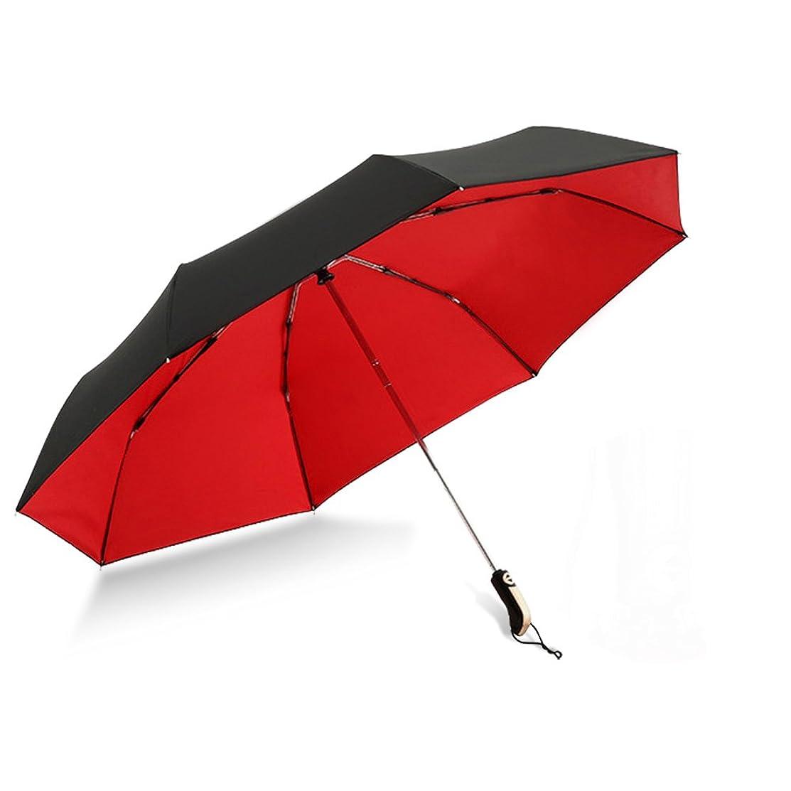 熟読抑制するスイス人折り畳み傘 自動開閉 ワンタッチ式 大きい 8本骨 直径123cm 2重構造 撥水加工 防雨 防風 紫外線遮蔽 収納ケース付き 晴雨兼用 YONiMO (レッド)