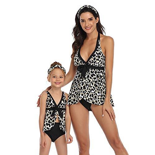 Traje De Baño Para Padres E Hijostraje De Baño Familiar A Juego Madre E Hija Playa Traje De Baño Traje De Cuello En V Leopardo Impresión Dos Piezas De Cintura Alta Bikini Set, Para Las Niñas Muj