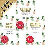 elementJune Babyparty Paket: 3 Spiele - Baby Orakel, Baby Preiskalkulator & Traumbaby Schmiede für Baby Shower - Ananas Design - Das Original - A5 Block zum Beschreiben - 25 Spieler - Ratespiel -