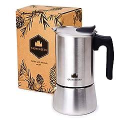 Groenenberg EspressoKoktion induction appropriée | Acier inoxydable | 4-6 tasses de café espresso | 200-300 ml mokkakanne | Espresso Maker avec joint et guide de rechange | Sans aluminium (6 tasses (300 ml))