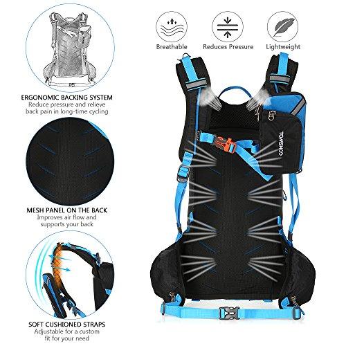 TOMSHOO Fahrradrucksack 20L, Outdoor Rucksack Multifunktionaler Wanderrucksack Skirucksack für Radfahren Reiten Bergsteigen mit Regenschutzkappe und Helmabdeckung - 4