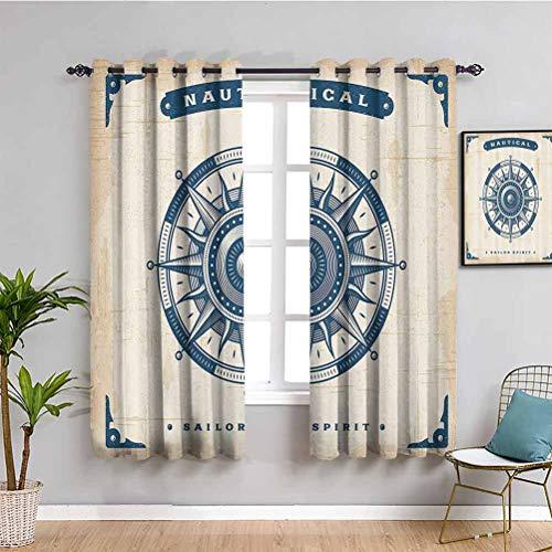 Kompass Decor Wohnzimmer-Vorhänge, 2 Paneele, Illustration von Globus mit Pfeilen, Messung, Reisen, Erkundung, Raum, verdunkelt, Petrol Blau, B 213 x L 213 cm