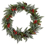 23 Inch Wintry Cypress Pine Wreath with Cones, Red Berries, Snowflakes Artificial Crestwood Spruce Christmas Wreath