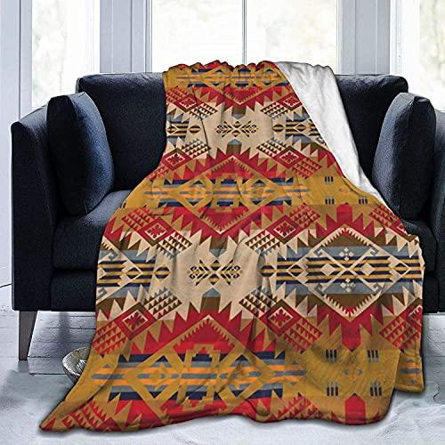 Ultra Doux Micro Polaire Durable Tribal Amérindien Ethnique Couvertures Couverture Douce et Chaude Couverture pour Lit Literie Canapé Bureau Salon Décor À La Maison-50 * 40in
