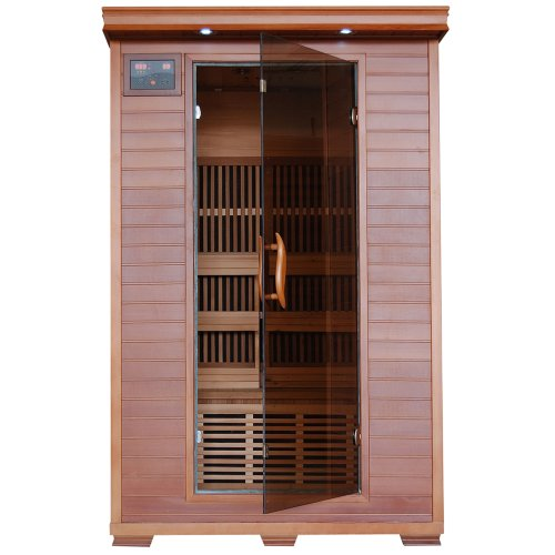 Radiant Saunas 2-Person Infrared Cedar Wood Sauna with Air Purifier, Chromotherapy Lighting, Music System, Carbon Heaters up to 141 Degrees F