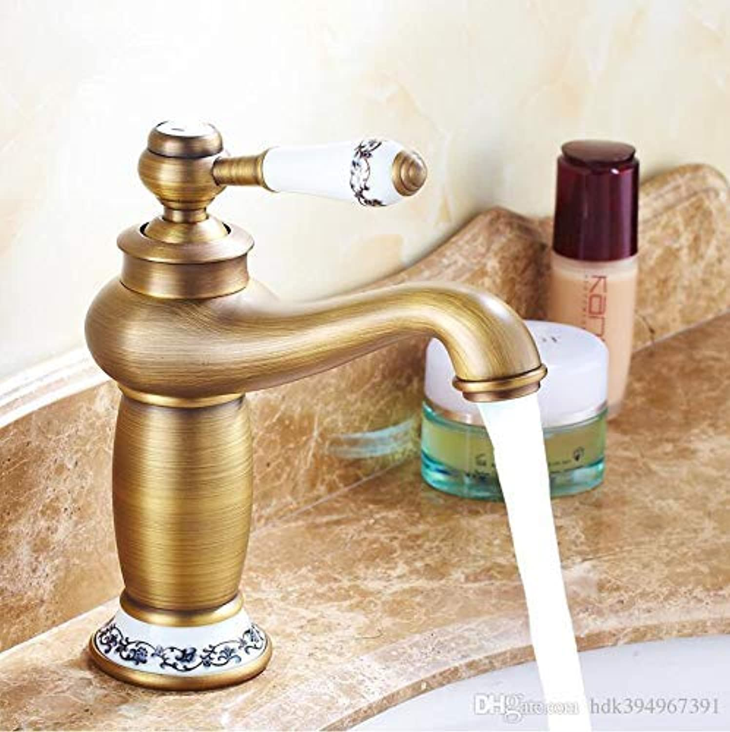 Oudan New Arrivel Contemporary Short Bathroom Faucet Antique Bronze Finish Brass Basin Sink Faucet Single Handle Faucet, A (color   B, Size   -)