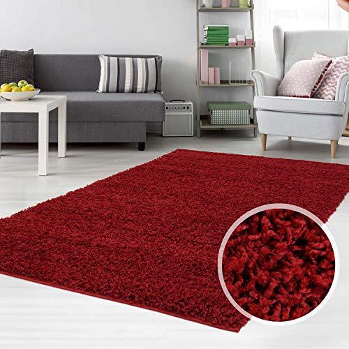 carpet city Hochflor Shaggy Teppich Langflor Teppiche Einfarbig Uni Rot für Wohnzimmer Schlafzimmer 3 cm Florhöhe, Größe 70x140 cm