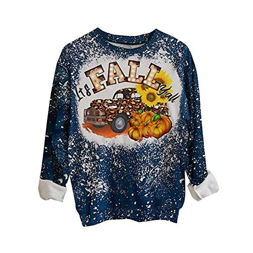 Halloween Women Vintage Bleached Tops,Long Sleeve Cute Pumkin Print Fall Sweatshirt,Crewneck Trendy Casual Pullover