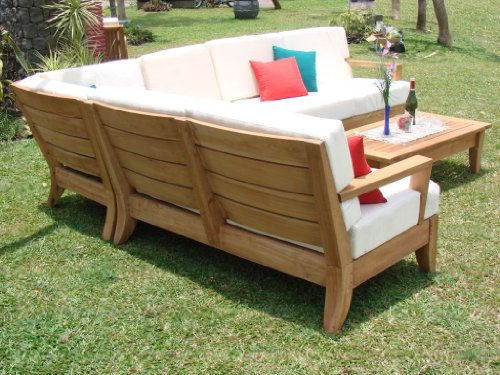 Big Sale Atnas Grade-A Teak Wood Luxurious 5pc Sectional Sofa Set Collection - 2 Sofas (Left & Right), 1 Lounge Armless Chair, 1 Corner Piece & 1 Coffee Table - Furniture Only