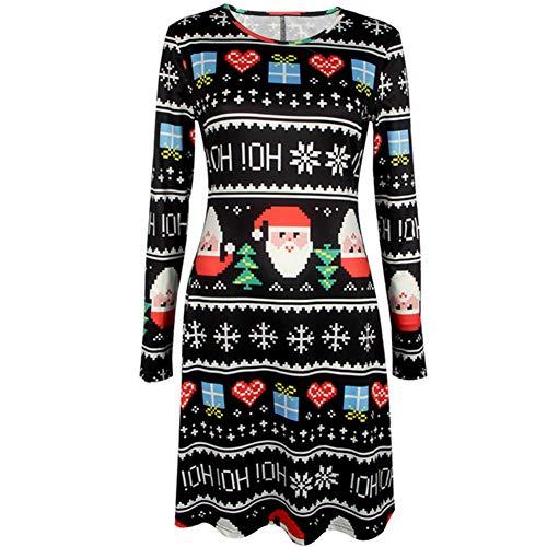 litty089 Herfst Winter voor Vrouwen Ornament, Delicate Kerstman Print Patroon, O Nek Lange Mouw Een Lijn Jurk, Decor voor Chirstmas Party Kostuum S Zwart
