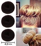 Fireboomoon 3Pcs Extra-large Size Hair Donut Bun Ring Styler Maker (Brown)