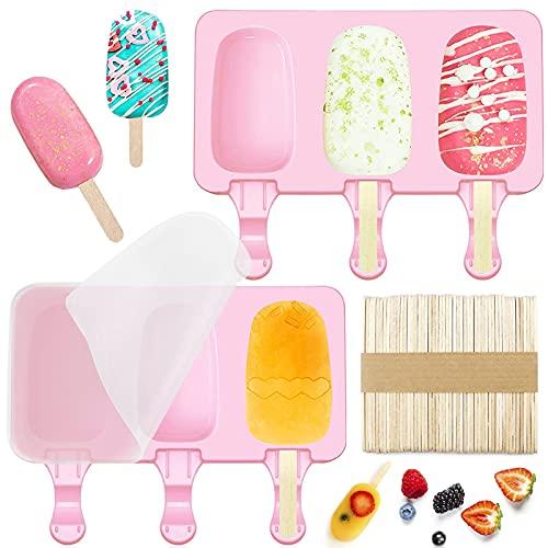 Cavità Gelato in Silicone,6 Celle Popsicle Stampi Popsicle Ice Maker con Coperchio,Popsicle Molds,Silicone Gelato Stampi,Stampi per ghiaccioli in Silicone,Stampo Ghiacciolo 50 manico in legno