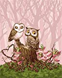 HUINXVEU Pintura por números para Adultos Principiante DIY Colorear Stump Owl Gift Set Christmas Decor painter40x50cm Sin Marco