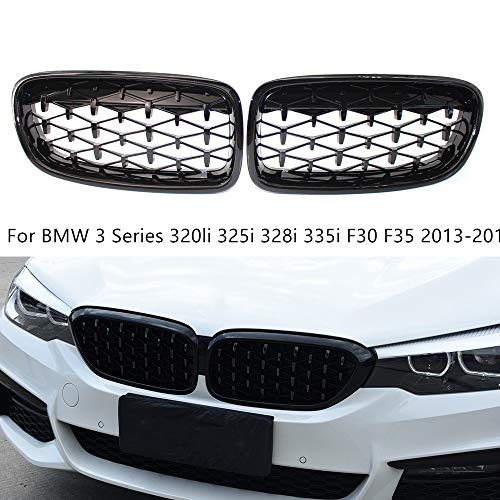 Para BMW Serie 3 320li 325i 328i 335i F30 F35 2013-2018 Drive Twin FIns Parachoques Delantero de Riñón Parrilla Par de Parrillas Clip en la Cubierta de la Rejilla Insertar Clips de Ajuste