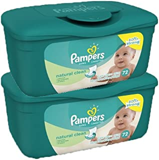 Pampers Natural Clean Baby Wipes Tub,  72 Count,  2 Pack