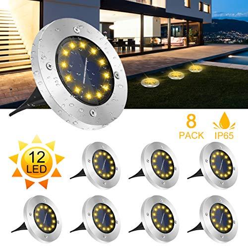 Solar Bodenleuchten,12 LEDS Solarleuchten für Außen,6000K Gartenleuchten IP65 Wasserdicht Warmweiß Solarlampen Solarlicht Garten Licht für Rasen/Auffahrt/Gehweg/Patio/Garden,8 Stück