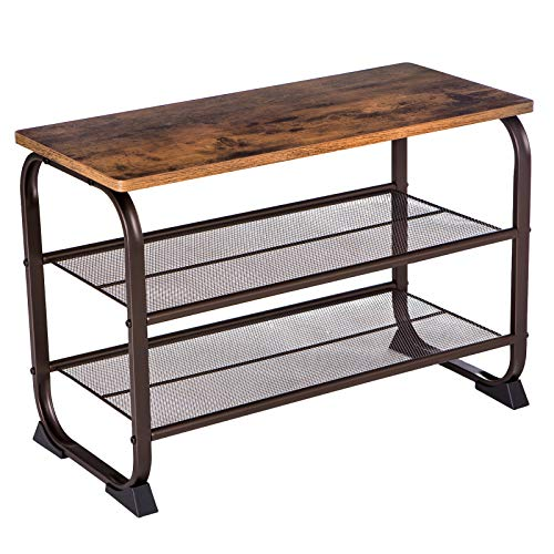 VASAGLE ULMR32A Industrial Shoe Bench Rack, Rustic Brown