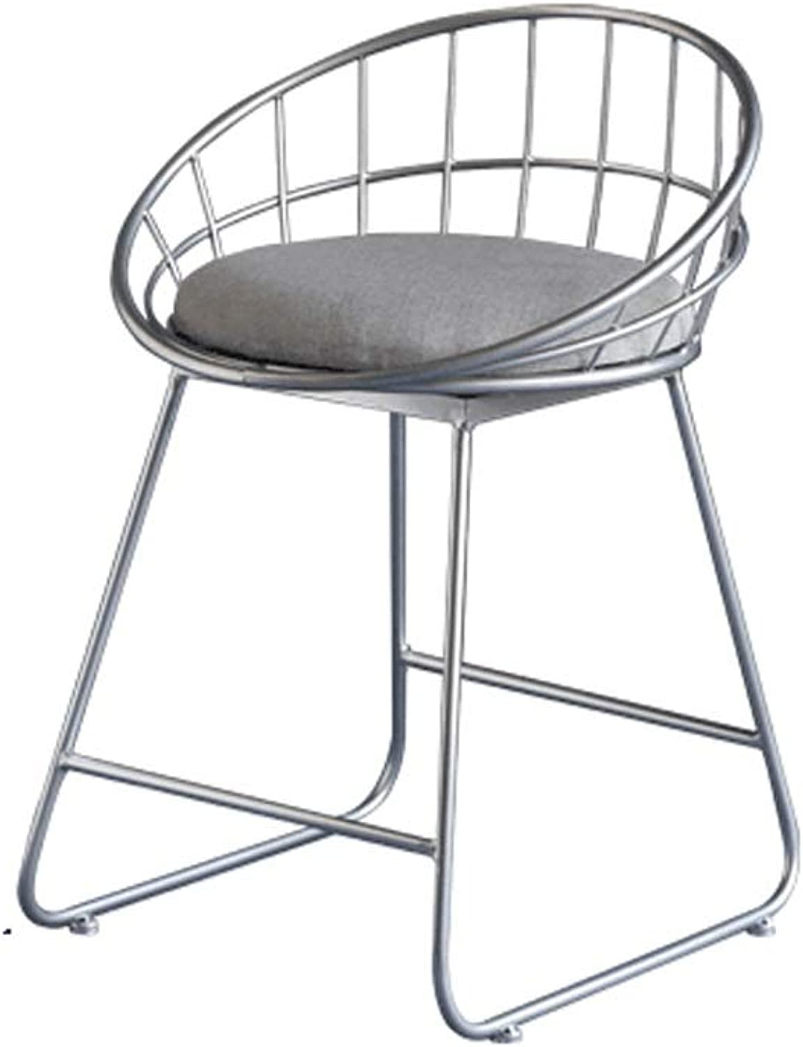 Barstool Nordic bar Stool Wrought Iron Simple gold high Foot Modern Casual gold Silver 3 Sizes (color   gold, Size   75cm high)