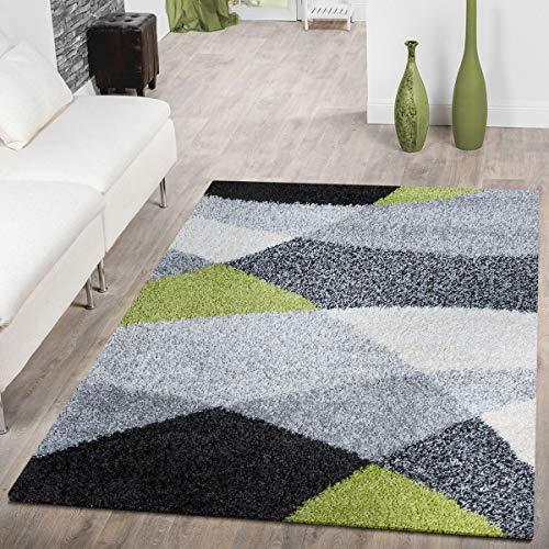 T&T Design - Alfombra lanuda de hilo largo Vigo con estampado en negro, blanco, gris y verde a un precio excelente, polipropileno, 120 x 170 cm