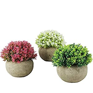 Svenee Mini Artificial Plants, 3 Pack Plastic Fake Green Grass Faux Greenery Topiary Shrubs with Grey Pots for Bathroom Home Office Décor, House Decorations