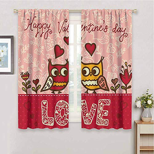Valentines Day Premium Blackout Curtains Owls in Love Print Cute Partners Couples Bohemian Style Hearts Flowers Dots Soundproof Shade, W55 x L63 Inch, Pink Red Yellow