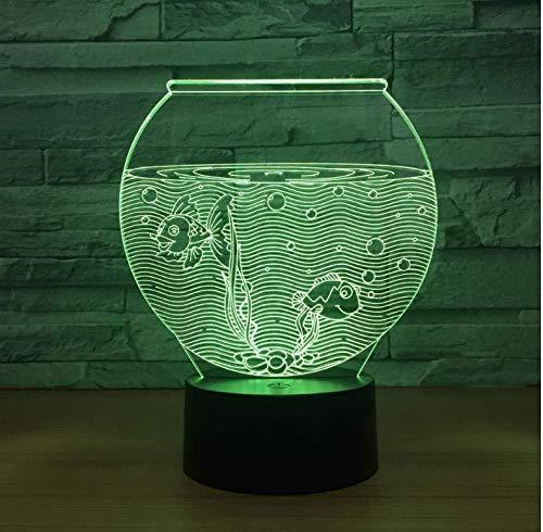 Bébé Fish Tank Forme Acrylique 3D Veilleuse Led Illusion Usb Rgb Veilleuse Lampe De Bureau Décor À La Maison Cadeau De Vacances Ambiance Décor Lampe