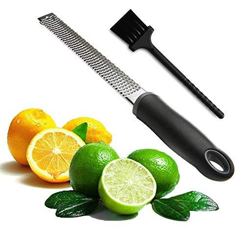 Râpe à fromage polyvalent et citron zester-outil de cuisine en acier inoxydable avec brosse de nettoyage gratuit-facile à râper ou zeste citron orange agrumes fromage noix
