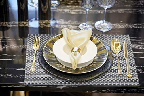 HTB ランチョンマット 4枚セット プレースマット テーブルマット 食卓マット 食卓飾り 滑り止め PVC製 家庭用 レストラン用 (縞模様)