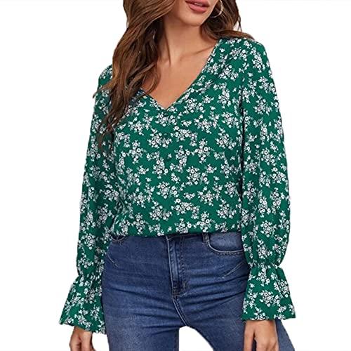 Camiseta Holgada con Estampado Floral Y Cuello En V De Gasa Informal para Mujer De Primavera Y Verano Top para Mujer