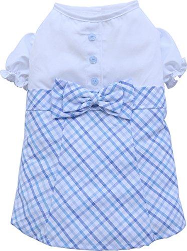 Doggy Dolly D280 hondenjurk met blouse en geruit rok, blauw, XXL Brust 56-58cm, Rücken 36-38cm