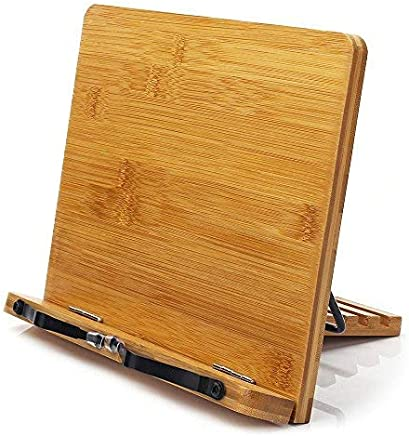 Bamboo Book Stand,wihacc Adjustable Book Holder Tray and Page Paper Clips-Cookbook Reading Desk Portable Sturdy Lightweight Bookstand-Textbooks Bookstands-Music Books Tablet Cook Recipe Stands