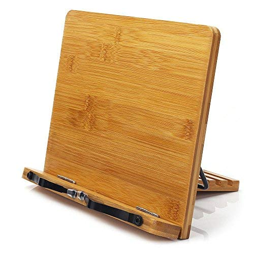 wishacc Bamboo Book Stand, Adjustable Book Holder Tray and Page Paper Clips-Cookbook Reading Desk