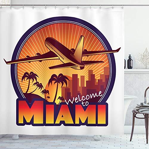 ABAKUHAUS Florida Duschvorhang, Willkommen Miami Grafik, mit 12 Ringe Set Wasserdicht Stielvoll Modern Farbfest & Schimmel Resistent, 175x240 cm, Dunkelorange Indigo Braun