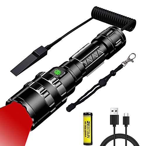 Linterna LED de Luz Roja, 600 Lumen Linterna Táctica Recargable Roja LED, 5 Modos, Linterna de Caza LED Roja con Zoom para Caza, Pesca, Aviación, y Astronomía (Batería Incluida)