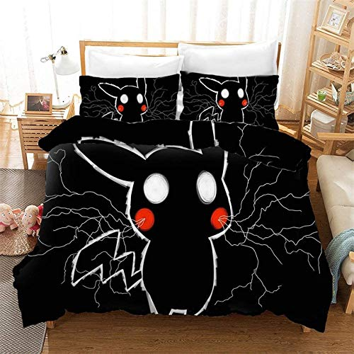 POMJK Pokemon Bed Linen Set Duvet Cover Pillowcase 100% Microfibre, 3D Print Children's Anime Duvet Cover (no filler) (A02, Single 135 x 200 cm + (50 x 75 cm) × 2)