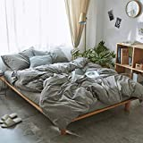 VM VOUGEMARKET Queen Duvet Cover Set,Solid Grey Duvet Cover with 2 Pillowcases,100% Washed Cotton Bedding Set,Hotel Quality Lightweight Soft and Breathable -Full/Queen,Grey