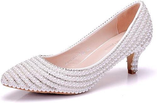 zapatos de boda, zapatos de novia blanco punta puntiaguda 5cms tacón bajo con deslizamiento de diamantes de imitación en los zapatos