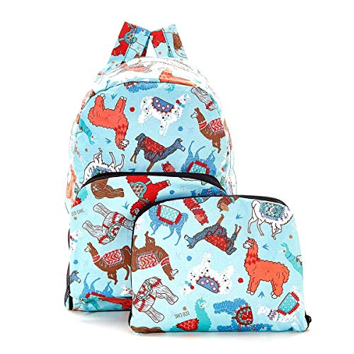 Eco-Chic Lightweight Foldable Waterproof Backpack Converts into Handy Pouch (Blue Lama, One Size)