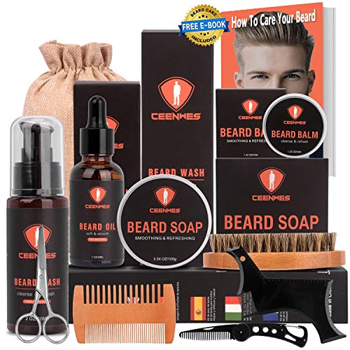 All in one Beard Grooming Kit for Men Care with Beard Soap Beard Oil, Beard Brush, Beard Comb, Beard Balm, Beard Shampoo, Scissors & Multifunctional Steel Comb Shaping Tool Perfect Gifts