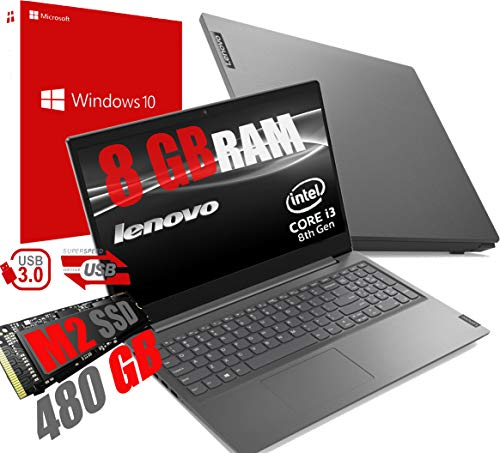 Lenovo I3 V15 Laptop Notebook 15.6' FHD Display /Cpu Intel Core i3-8130U Up To 3.4Ghz /Ram 8Gb DDR4 /SSD M2 480GB /VGA UHD 620 /Usb Hdmi Sd Wifi Bluetooth/Windows 10 Professional /Open Office