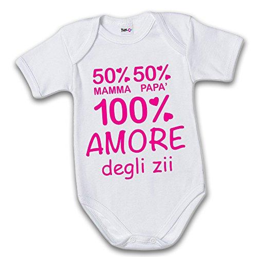 Bodino Body Amore degli Zii Grafica Fucsia 3 Mesi Manica Corta