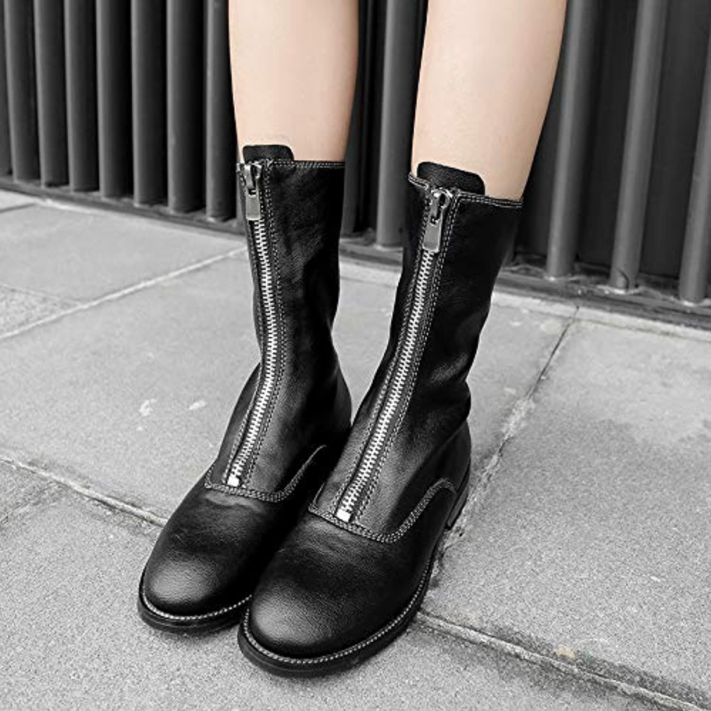 HOESCZS Frauen Schuhe Herbst Und Winter Winter Leder Front Zipper Damen Stiefel In Den Stiefeln Bequeme Martin Stiefel Pu Damen Stiefel  wunderschönen