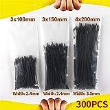 Multifunción Cable 300pcs plástico autoblocantes Negro Tie Set 3 * 100 150 4x200mm Wraps blanca Fijar anillo del lazo de nylon relámpago del alambre de alta calidad para oficina, hogar y exterior