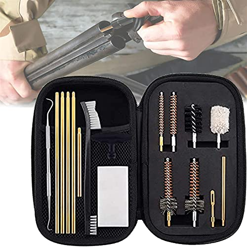 wsbdking ¿Airgun? Kit de limpieza, kits de limpieza de rifles, márgenes de algodón de 16 piezas Rodillo de limpieza de latón cepillos de nylon, organizador con cremallera Caja compacta, regalo para am