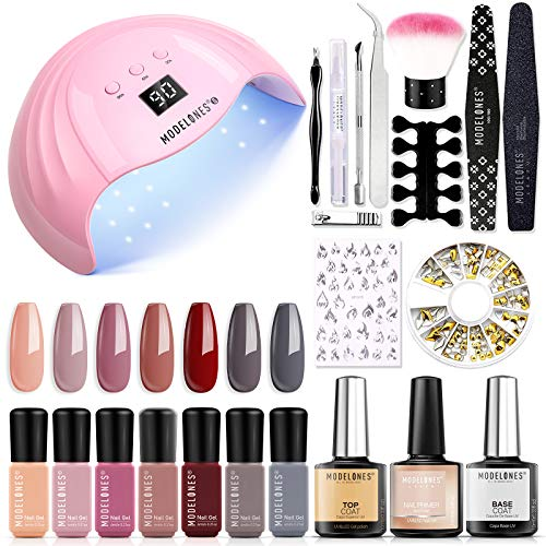 Gel Nail Polish Kit with U V Light 48W Nail Lamp Modelones 7 Colors Gel Nail Polish Set, No Wipe Base Top Coat, Nail Primer, Nail Art Decorations, Manicure Tools, At Home DIY Kit Salon Effects