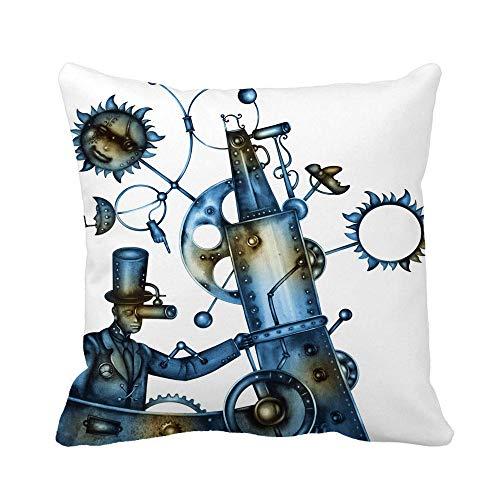 Throw Pillow Cover Adulto Steampunk Hombre Persona Trenzas Disfraz Cultura Cyberpunk Cyborg Funda de Almohada Funda de Almohada Cuadrada Decorativa para el hogar Funda de cojn