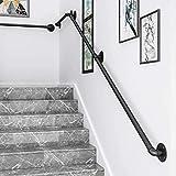 PaNt Pasamanos para Escalera Negro Barandilla Escalera Estilo Industrial Profesional, Tubería de Pasamanos y Antideslizante Hierro Forjado para Interiores y Exteriores pared Loft Ancianos (2m)
