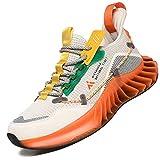 Mishansha Moda Zapatos de Running Hombre Ligero Zapatos para Correr Mujer Gimnasio Sneakers Naranja 43